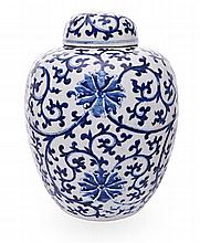 A CHINESE BLUE AND WHITE JAR AND COVER, EARLY 20TH