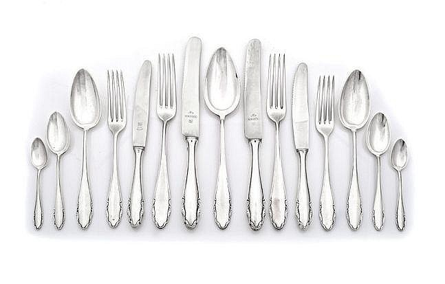 A SET OF ELECTROPLATE CUTLERY, GERMANY, WMF compri
