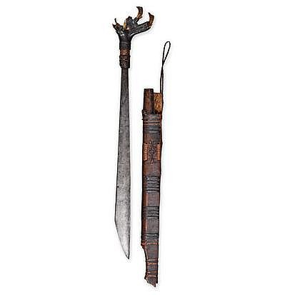 AN IBAN SWORD AND SCABBARD, BORNEO the horn handle