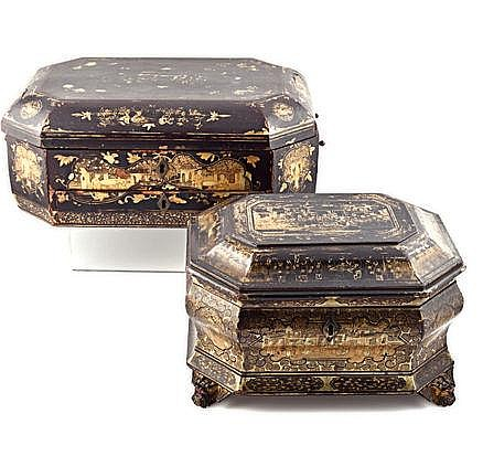 A CHINESE EXPORT BLACK AND GILT-LACQUERED TEA CADD