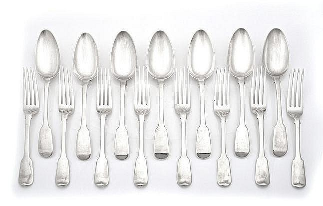 AN ASSEMBLED SET OF SILVER CUTLERY, VARIOUS MAKERS