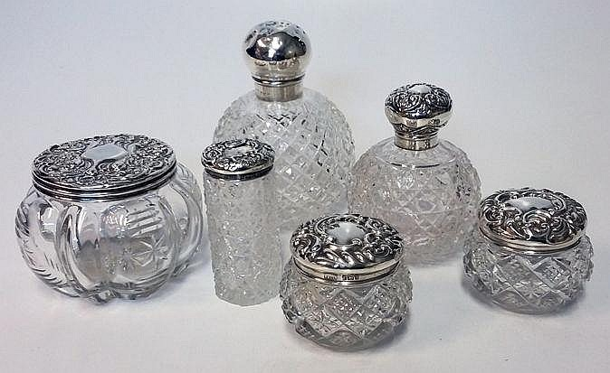 AN ASSEMBLED SET OF SIX SILVER-MOUNTED CUT-GLASS S