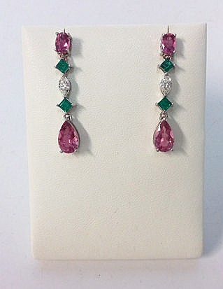 A PAIR OF PINK TOURMALINE, DIAMOND AND EMERALD PENDANT EARRINGS each surmou