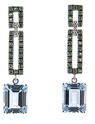 A PAIR OF BLUE TOPAZ AND TSAVORITE PENDANT EARRINGS each double openwork re