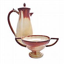 A LINNWARE PITCHER AND COVER, 20TH CENTURY the sle