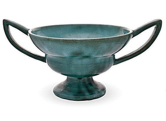 A LINNWARE TWO-HANDLED PEDESTAL BOWL, 20TH CENTURY