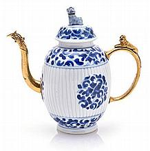 A CHINESE GILT-METAL MOUNTED BLUE AND WHITE TEAPOT