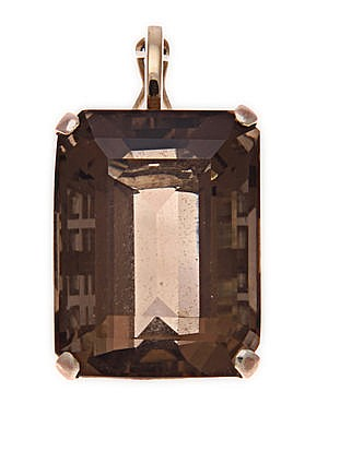 A SMOKY QUARTZ PENDANT the step-cut rectangular-shaped smoky quartz weighin