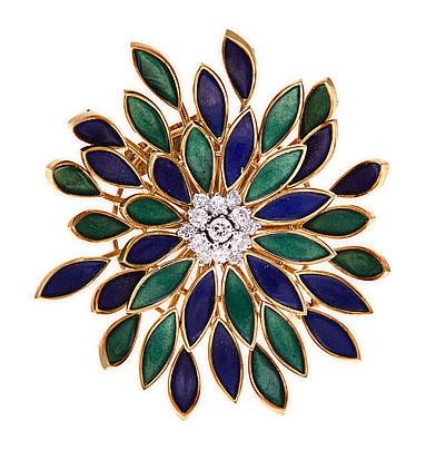AN ENAMEL AND DIAMOND BROOCH comprised of two layers of flexible alternatin