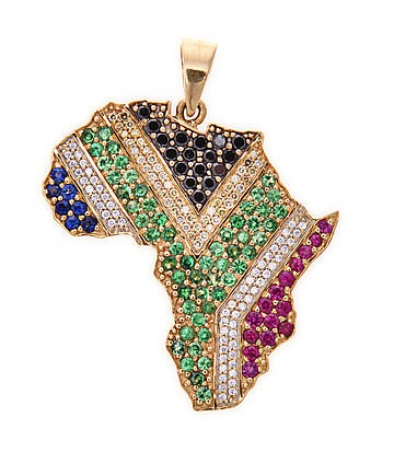 A DIAMOND AND GEM-STONE PENDANT in the form of the African continent, set w
