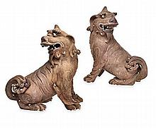 A PAIR OF CHINESE TERRACOTTA FIGURES OF KYLIN, LAT