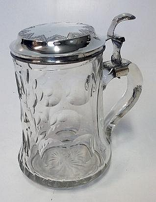 A DUTCH SILVER-MOUNTED GLASS TANKARD, .833 STANDAR
