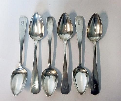 A SET OF SIX CONTINENTAL SILVER TABLESPOONS each e
