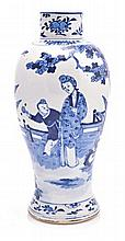 A CHINESE KANGXI-STYLE BLUE AND WHITE BALUSTER VAS