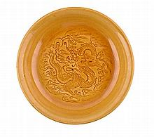A CHINESE IMPERIAL YELLOW-GLAZED 'DRAGON' SAUCER D