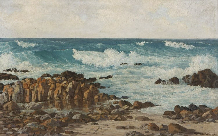 Vera Volschenk (South African 1899-1987) SEASCAPE signed and dated 1968 oil on canvas laid down on board 45,5 by 74cm