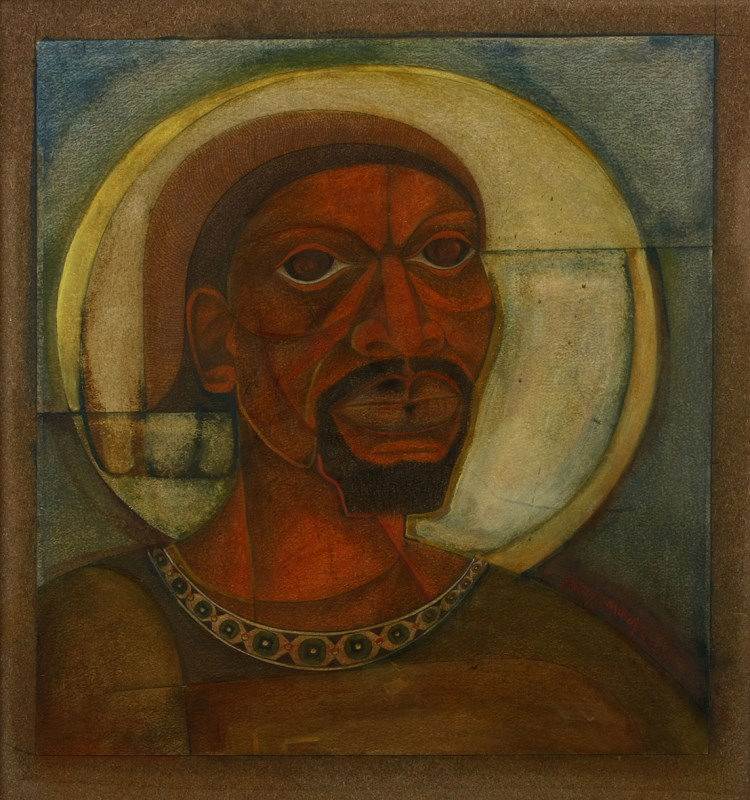 Solly Malope (South African 1953 -) PORTRAIT OF AN AFRICAN GOD signed and dated 2001 mixed media on paper 55 by 52cm