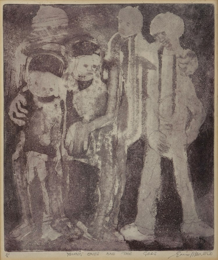 Eric Mbatha (South African 1948-) THE YOUNG ONES AND THE GODS etching and aquatint, signed, numbered VI/X and inscribed with the title in pencil in the margin sheet size: 36 by 31cm