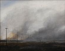 Keith Alexander (South African 1946-1998) BURNING VELD signed and dated 79 oil on canvas laid down on board 54 by 70cm
