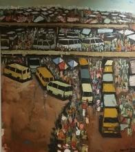 Adolf Tega (South African 1985-) TOWNSHIP SCENE signed and dated 2015 oil and sand on canvas 160 by 140cm