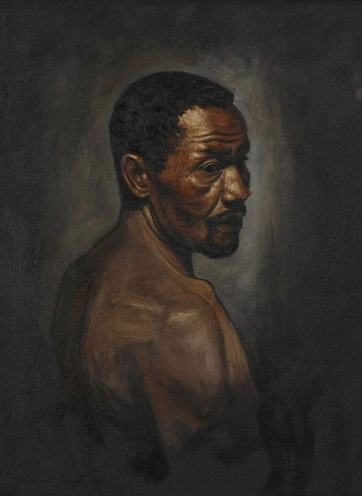 Lionel Smit (South African 1982 -) PORTRAIT OF JAN MAKAU, STRUCTURE SERIES I signed and dated 2004; inscribed with the title on the reverse oil on canvas 79 by 59cm