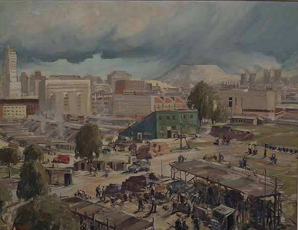 Victor Archipovich Ivanoff (South African 1909-1988) THE BUILDING OF THE NEW JOHANNESBURG STATION a
