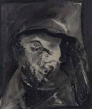 Iris Ampenberger (South African 1916-1981) PORTRAIT OF A MAN signed and dated 1975 mixed media on pa