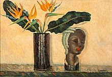 Dezso Koenig (South African 1902-1972) STILL LIFE WITH STRELITZIA signed oi