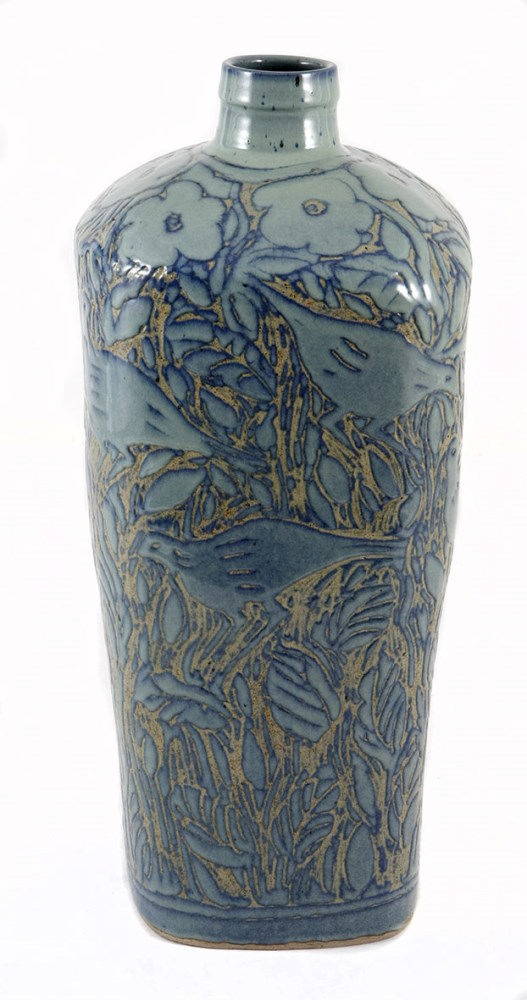 ANTON BOSCH (1958 - ) A LARGE STONEWARE BLUE-GLAZED VASE of tapering square section, decorated overall with birds amongst foliage 93cm high