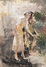 Marie Vermeulen Breedt (South African 1954-) TWO WOMEN IN A GARDEN signed o
