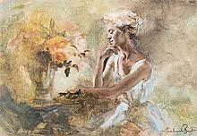 Marie Vermeulen Breedt (South African 1954-) GIRL WITH FLOWERS signed oil a