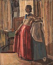 Theo Megaw (South African 1929-) WOMAN IN A RED DRESS signed and dated 1981