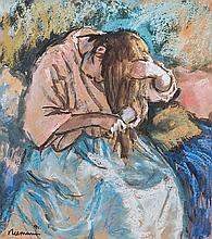 Hendrik Christiaan Niemann (South African 1941-) PORTRAIT OF A WOMAN BRUSHI