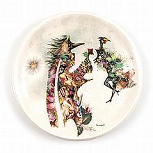 Jules Perahim (Romanian 1914-2008) TWO FIGURES signed ceramic plate diamete