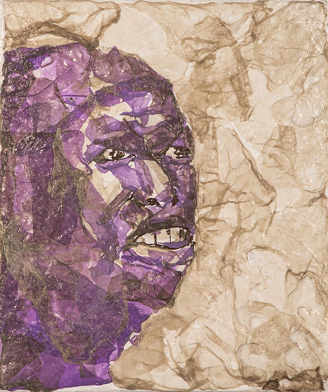 Mbongeni Buthelezi (South African 1965-) PORTRAIT OF A MAN plastic on board
