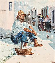 Adelio Zagni Zeelie (South African 1911-1991) SEATED FISHERMAN signed, date