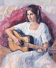 Rob Wareing (South African 20th Century-) GIRL WITH GUITAR signed oil on ca