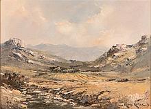 Kobus Kotze (South African 20th Century-) MOUNTAINOUS LANDSCAPE signed and