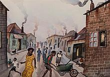 Peter Mogano (South African 20th Century-) STREET SCENE signed and dated 19