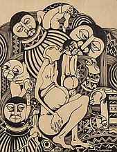 Malangatana Ngwenya (Mozambican 1936-2011) FIGURES signed and dated 97 ink
