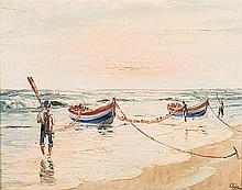 Adelio Zagni Zeelie (South African 1911-1991) BOATS ON THE BEACH signed, da