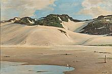 Walter Gilbert Wiles (South African 1875-1966) SAND DUNES signed oil on boa
