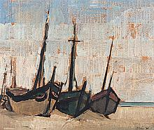 Wim Blom (South African 1927-) BOATS ON THE BEACH signed and dated '56 oil