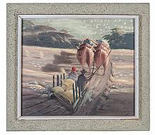 John Koenakeefe Mohl (South African 1903-1985) HOME WARD ON SLEDGE signed a
