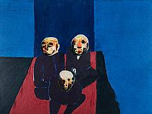 Robert Griffiths Hodgins (South African 1920-2010) THREE MEN WAITING signed