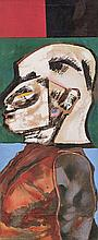 Robert Griffiths Hodgins (South African 1920-2010) HEAD WITH PANEL signed,