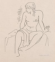 Maurice Charles Louis van Essche (South African 1906-1977) SEATED NUDE sign