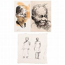 Nelson Makamo (South African 1982 -) TWO FIGURES; PORTRAIT; PORTRAIT, three