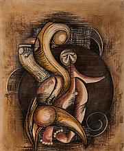 Sydney Alex Kumalo (South African 1935-1988) ABSTRACT FIGURES signed and da