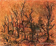 George Enslin (South African 1919-1972) TREES AND HOUSES signed and dated '